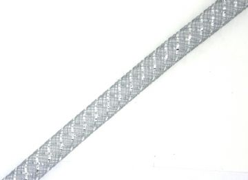 Grey coloured nylon mesh tubing with silver foil 8mm - 015
